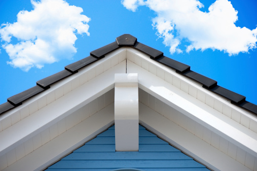 Detail of an house roof in the summer
