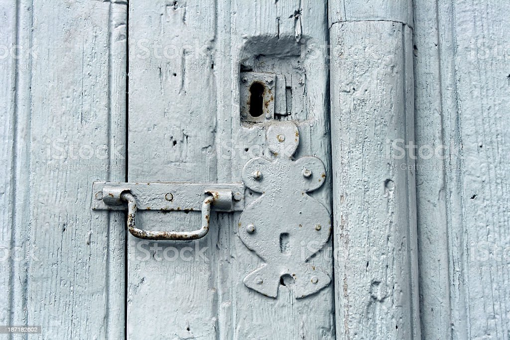 Detail of an old blue door royalty-free stock photo