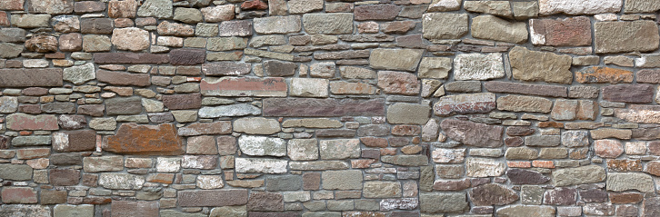 Panorama - Detail of an old city wall made of many different stones
