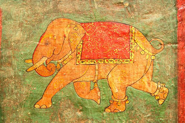 detail eines alten indischen tür - malerei türen stock-fotos und bilder