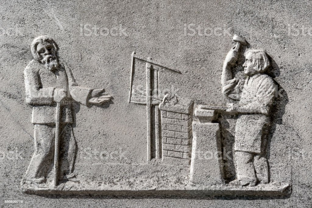 Detail of an old monument on graveyard stock photo