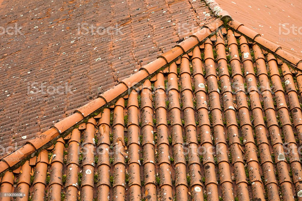 Detail of an old  roof viewed from above stock photo