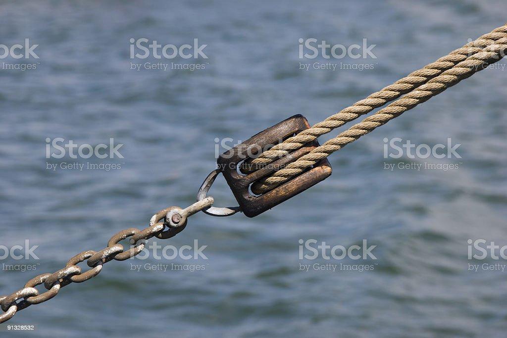 Detail of an old sailing ship (sheet) royalty-free stock photo
