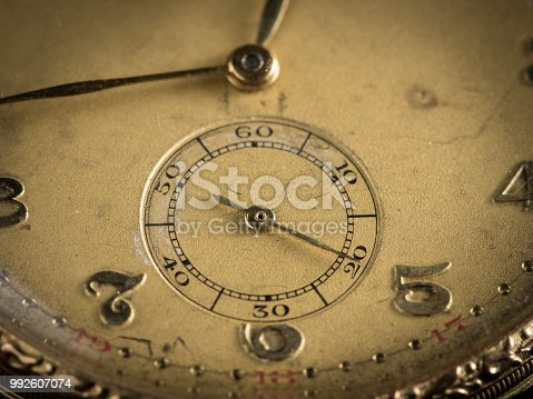 istock Detail of an old woman's golden pocket watch 992607074