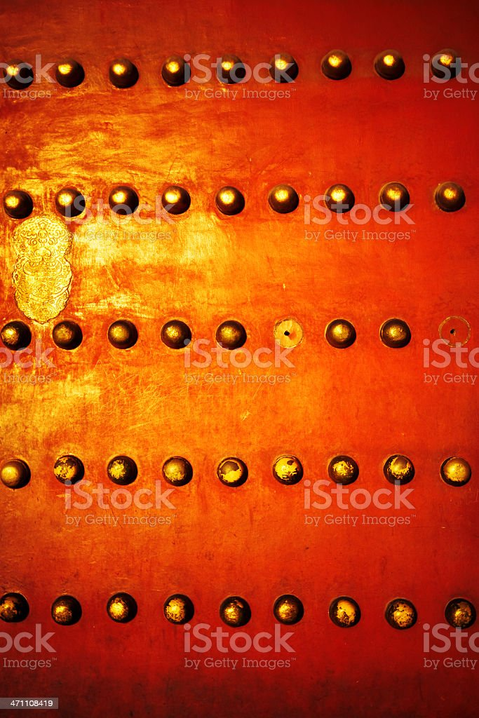 Detail of Ancient Doors in Forbidden City royalty-free stock photo