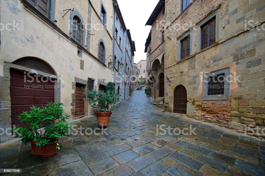 Detail of Anghiari, a medieval village in Tuscany - Italy stock photo