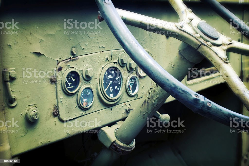 Detail of Antique Army Truck - effect stock photo
