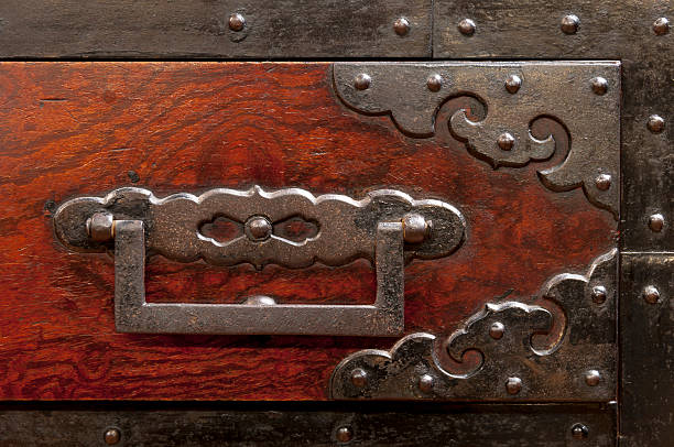 detail of antique japanese iron-bound chest - mahroch stock pictures, royalty-free photos & images