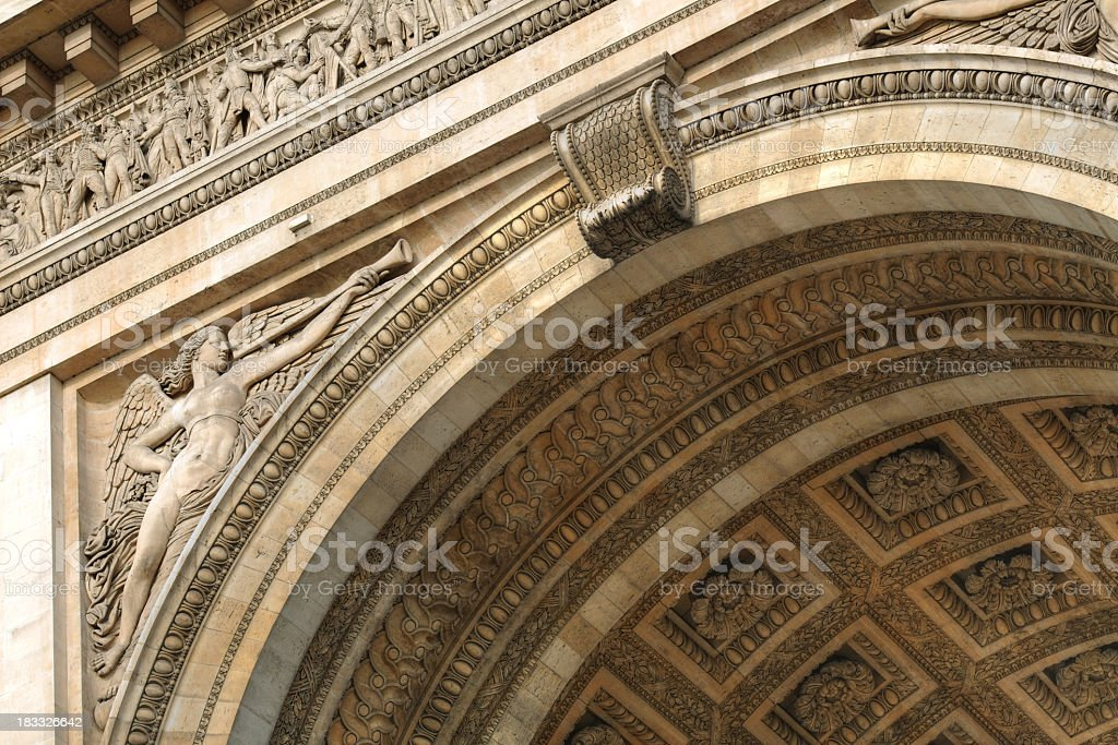 Detail of Arc de Triomphe in Paris, France - XLarge royalty-free stock photo