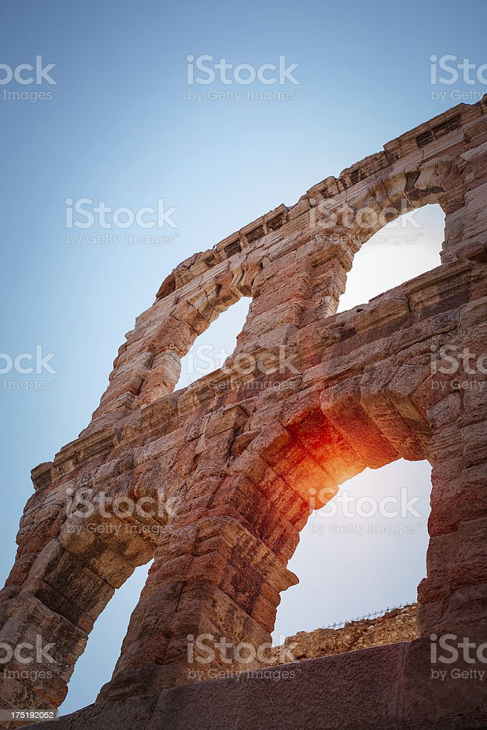 Detail of Arena in Verona royalty-free stock photo