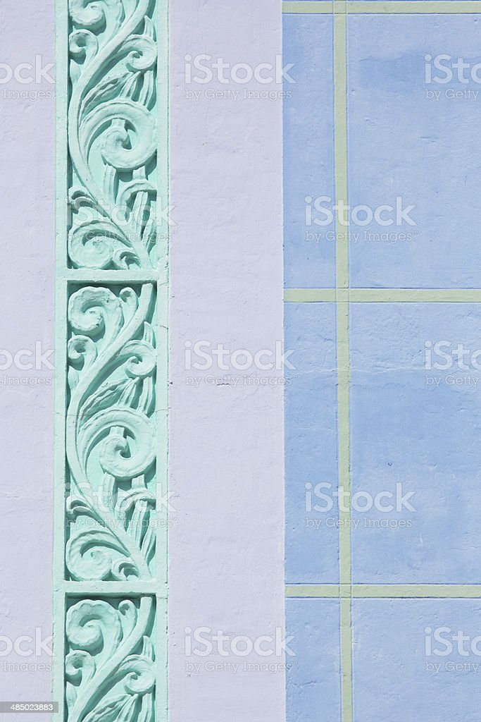 Detail of Art Deco building, Miami Beach stock photo