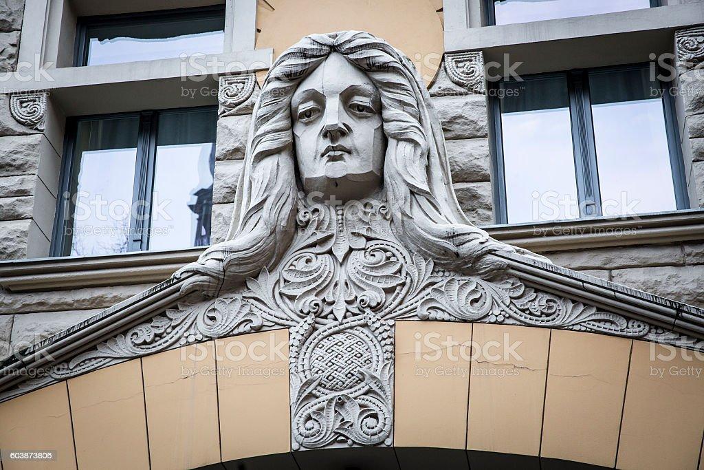 Detail of  Art Nouveau building facade, Old Town, Riga, Latvia stock photo