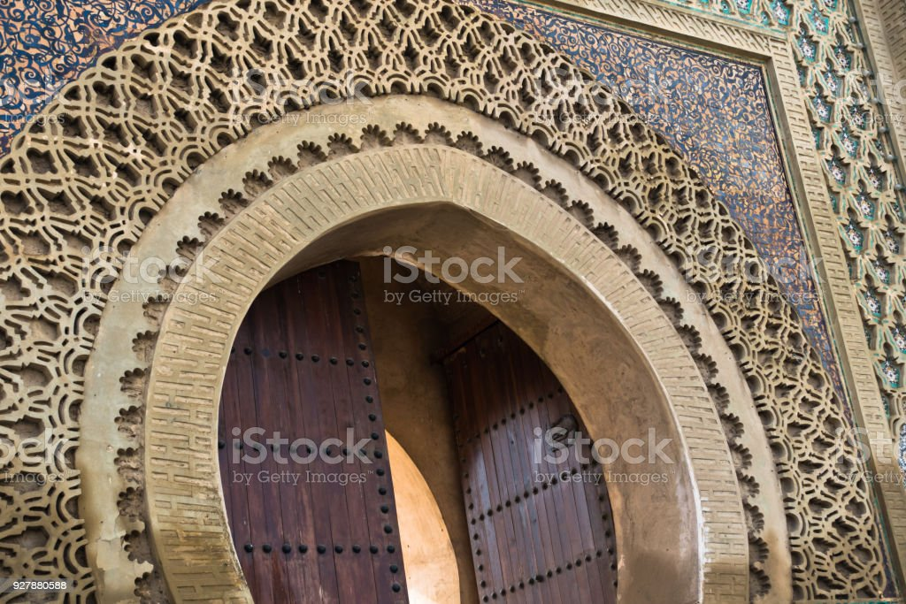 Detail of Bab Mansour Gate at El Hedime square, decorated with mosaic ceramic tiles, in Meknes stock photo