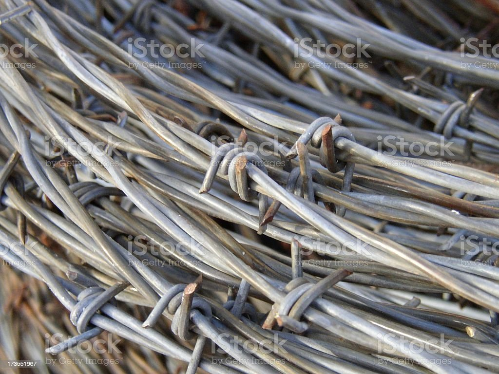 detail of barbed wire spool royalty-free stock photo