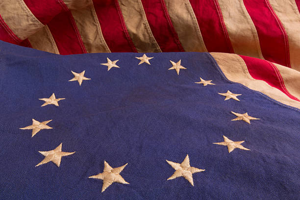 Detail of Betsy Ross Flag With Thirteen Stars and Stripes stock photo