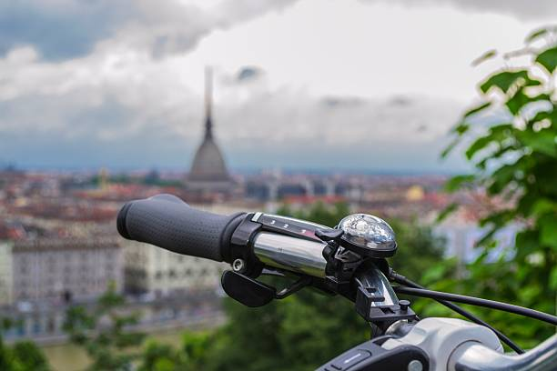 Detail of bicycle and landscape of Turin (Piedmont, Italy) stock photo