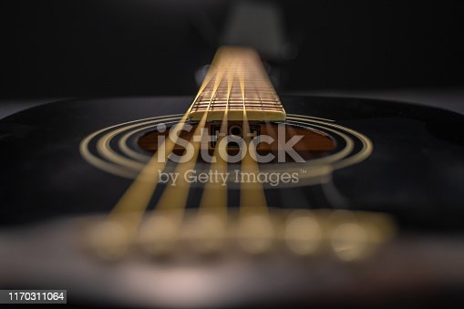 Detail of black classical guitar. The scene is situated in a studio environment in front of a black background. The picture is taken with Sony A7 III camera.