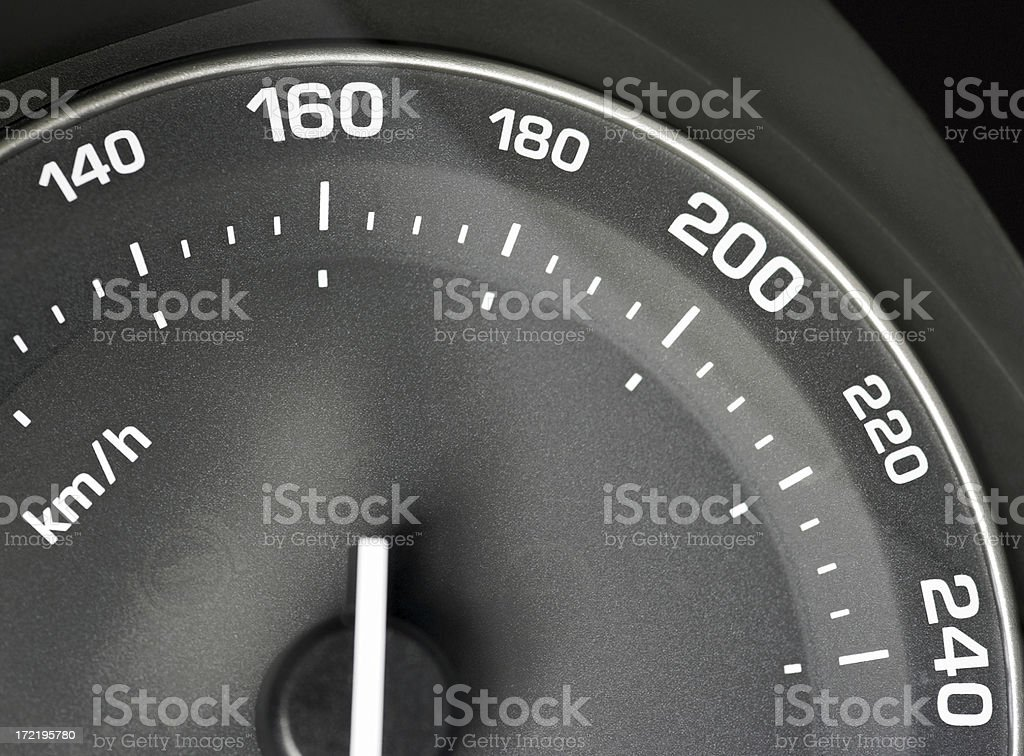 Detail of black speedometer in car, range from 140-240 km/h stock photo