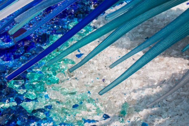 detail of blue murano glass sculpture in murano, venice - italy - glasskulpturen stock-fotos und bilder