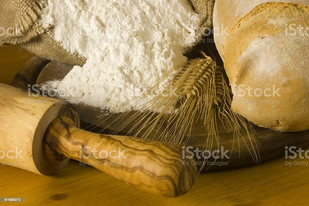 Detail of bread and flour royalty-free stock photo
