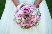 detail of bride holding bridal bouquet