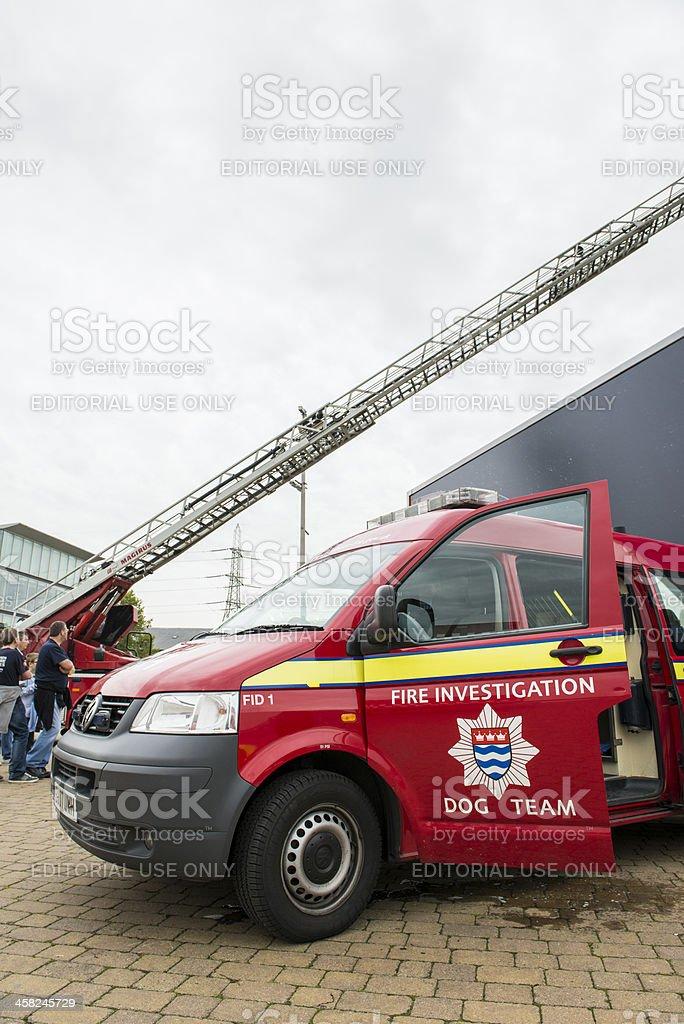 Detail of British fire brigade dog team royalty-free stock photo