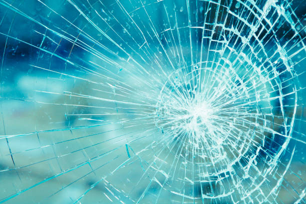 Detail of broken glass stock photo