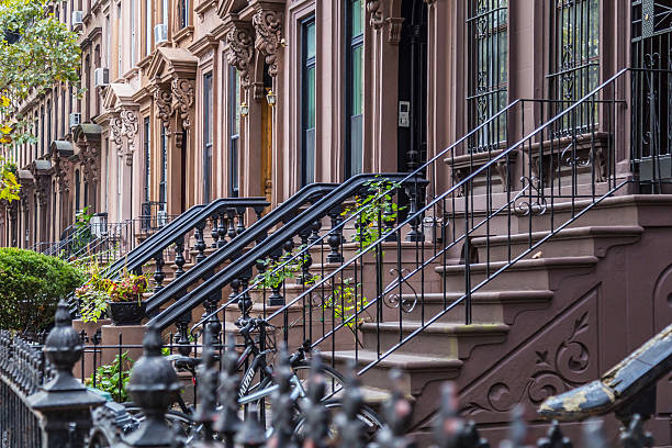 Detail of Brownstone stoops in Brooklyn, NY stock photo