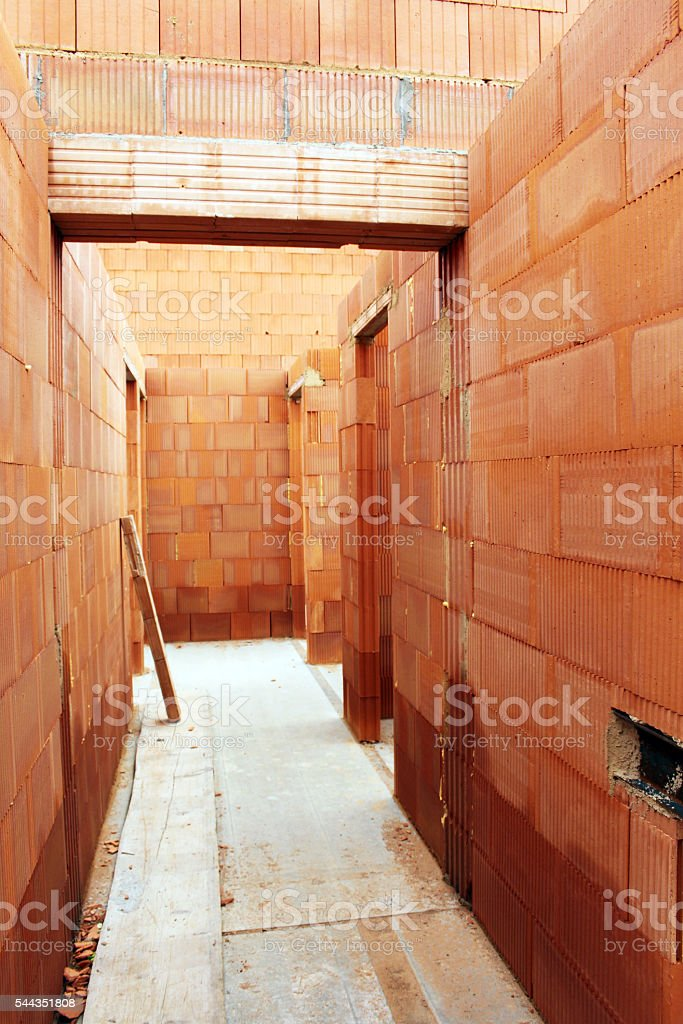 Detail of building a new house, a backlog of work stock photo