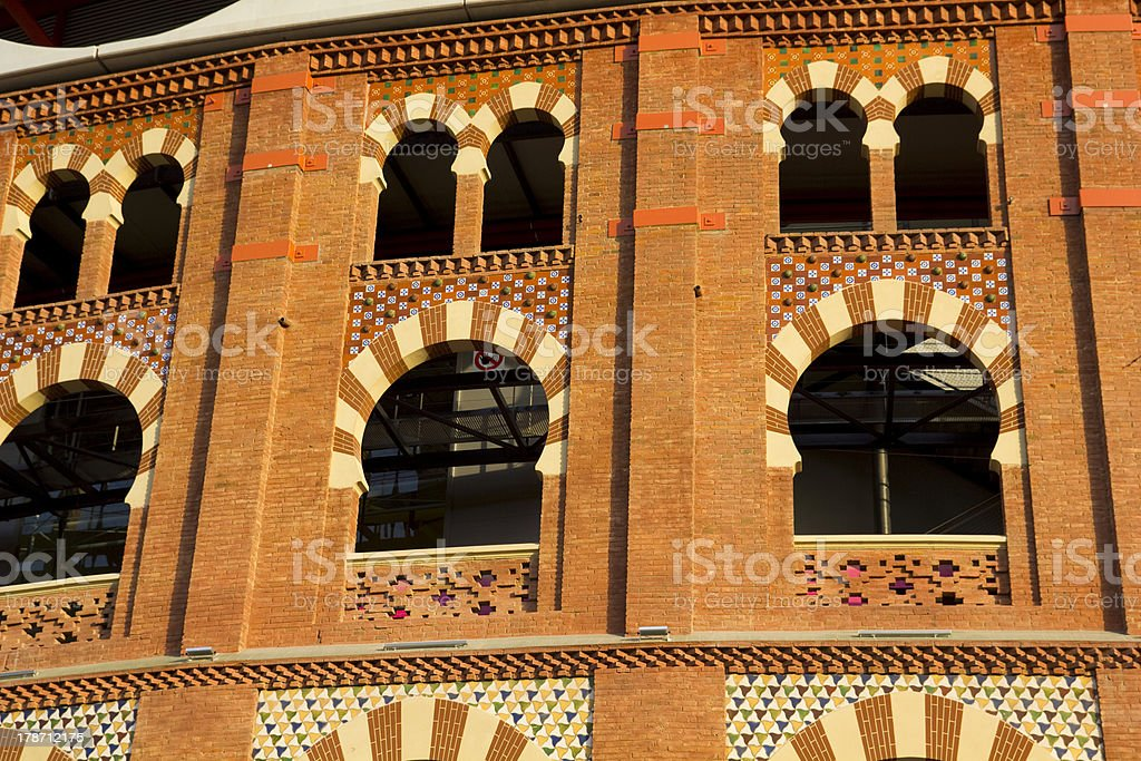 Detail of Bullring Arenas. Barcelona, Catalonia, Spain royalty-free stock photo