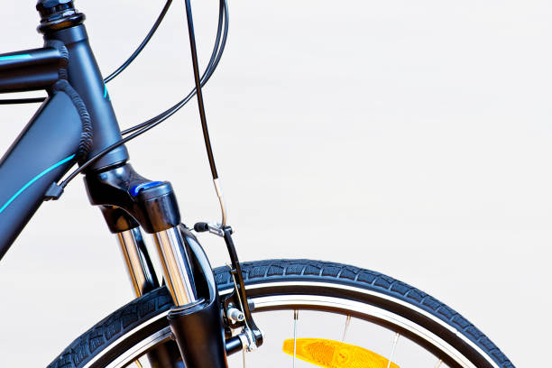 Detail Of Caliper Brakes And Suspension Fork stock photo