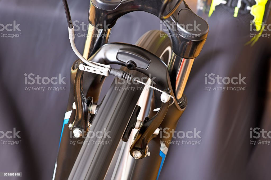 Detail Of Caliper Brakes With Track Shoe stock photo