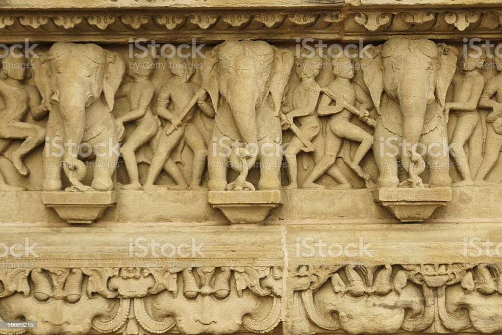 Detail of Carved Elephants on a Hindu Temple royalty-free stock photo