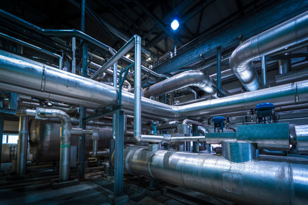 Detail of chemical plant stock photo