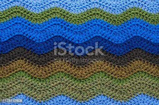 Detail of chevron stitch crochet blanket