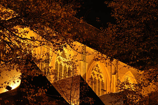 Detail of Church at Night in Golden Lighting stock photo