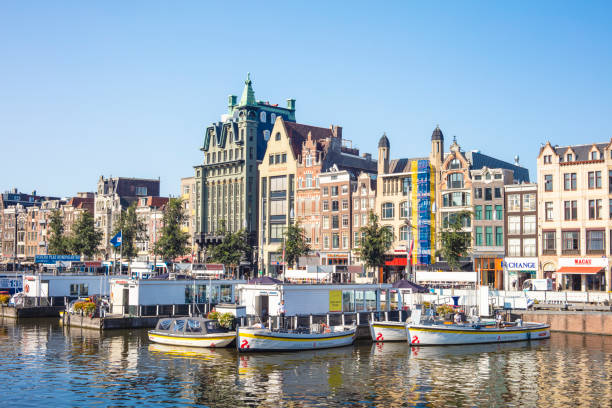Detail of cityscape in Amsterdam, Netherlands stock photo