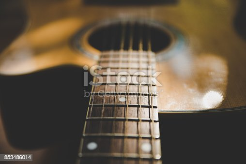 istock detail of classic guitar with shallow depth of field 853486014