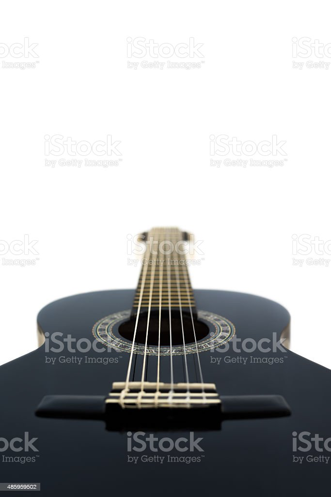 Detail of Classical Acoustic Guitar Isolated on a White Backgrou stock photo