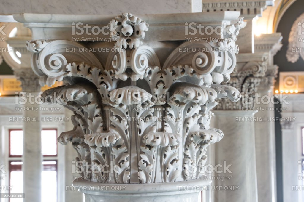 Detail of classical Greek style of Corinthian columns in Library of Congress stock photo
