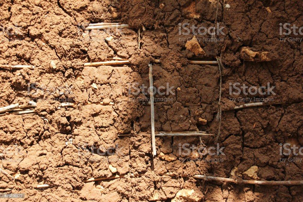 Detail of Clay Wall in Zanzibar, Tanzania, Indian Ocean, East Africa royalty-free stock photo