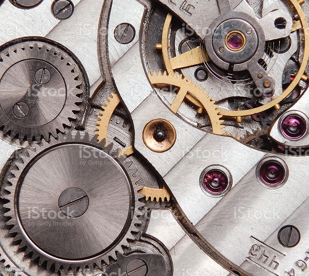 detail of clockwork stock photo