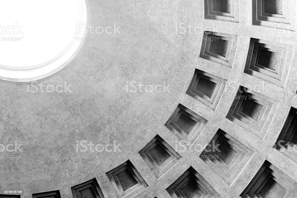 Detail of coffered dome and oculus of Pantheon in Rome stock photo
