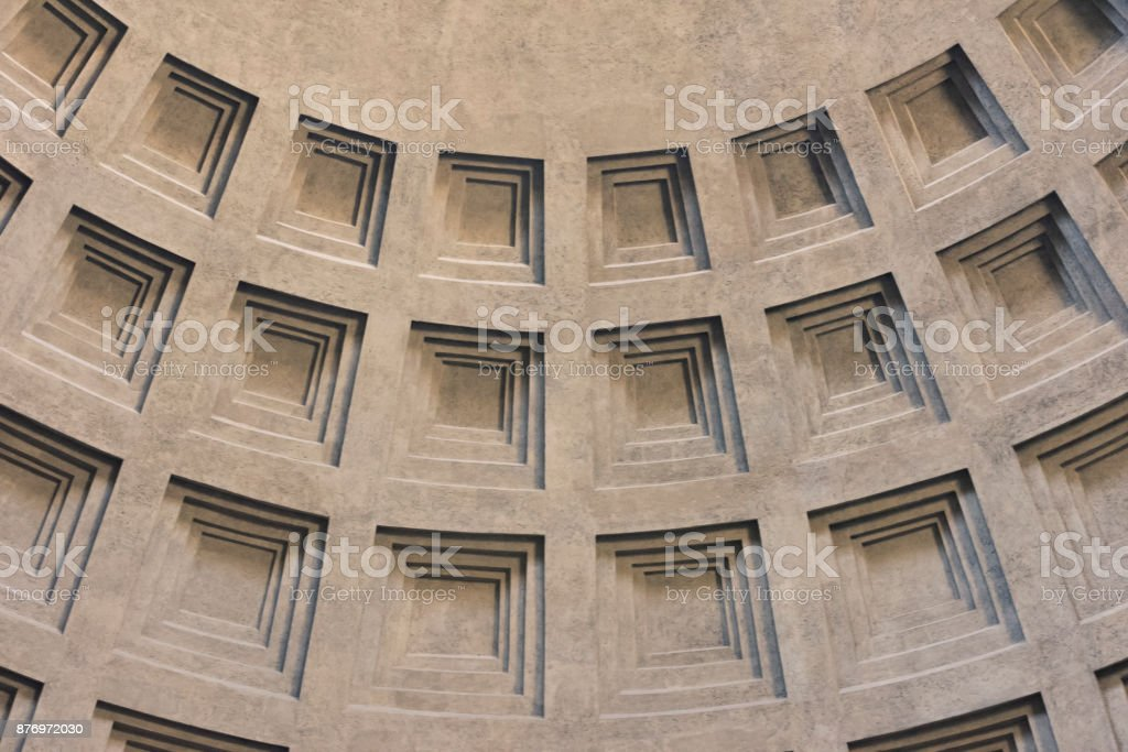Detail of coffered dome of Pantheon in Rome, Italy stock photo