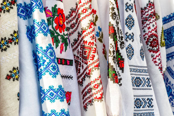 Detail of colored ie, Romanian traditional costume stock photo