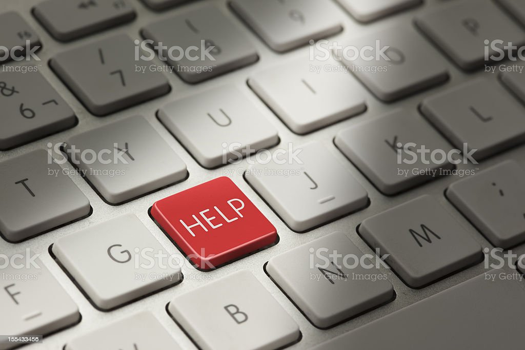Detail of computer keyboard showing HELP key stock photo