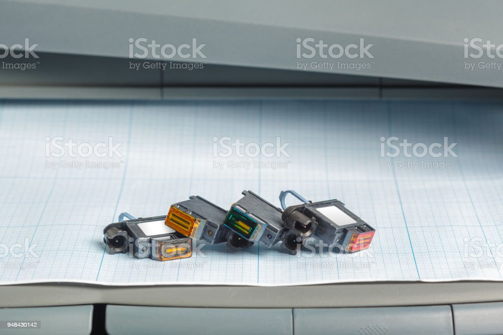 Detail of computer printer ink cartridges stock photo
