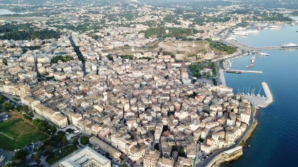 Detail of Corfu City from above stock photo