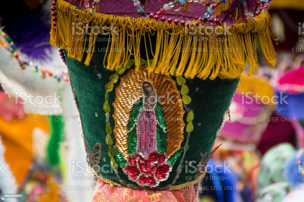 Detail of Costume with our Lady of Guadalupe stock photo