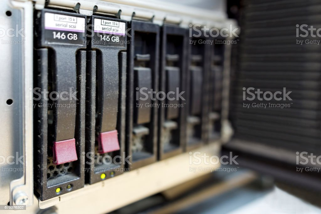 detail of data center with hard drives, hotplug hdd stock photo